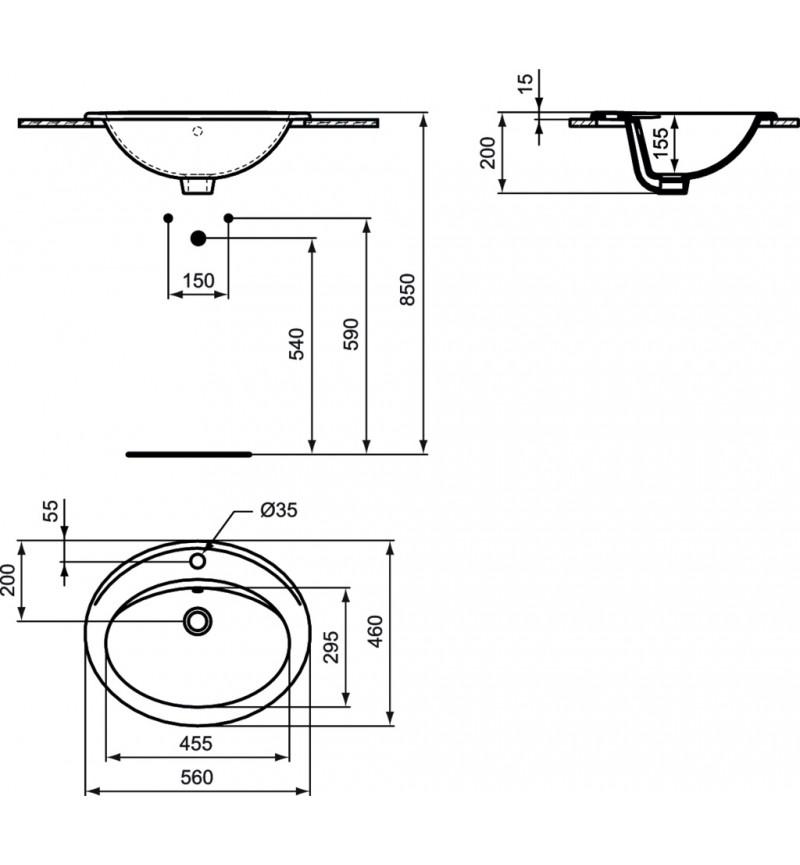 Νιπτήρας Simplicity 56x46